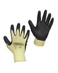 Glove Cut Resistant Aramid Fibre Knit Wrist  Black Nitrile Palm/ Pair Medium