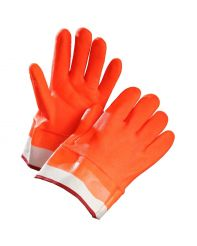 Glove Fully Coated, Safety Cuff, Fluorescent Orange