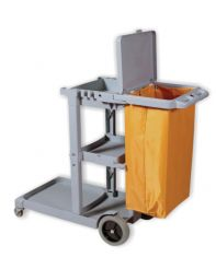 Janitor Cart Gray with Bag.