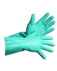 "Glove Nitrile Green Flock Lined 13"" Pair Medium/doz"