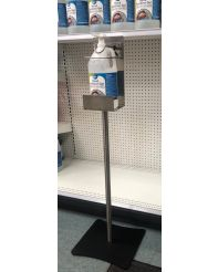 Hand Sanitizer Stand Lockable Stainless Steel c/w One Gallon of 3.8L with pump
